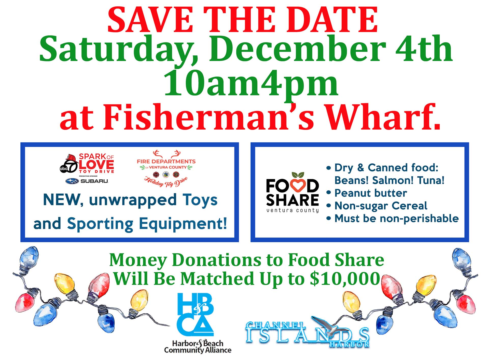 Dec 4th 2021 Food and Toy Drive at Fisherman's Wharf